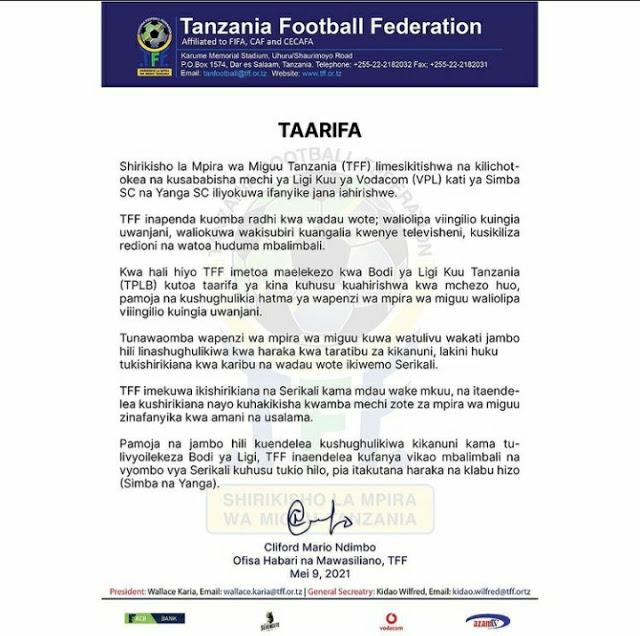 tff, TFF Watoa Tamko, Simba Vs Yanga, Meridianbet